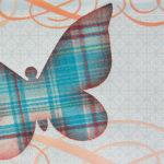 Karta s textilním motýlem od Rejky Balcarové.