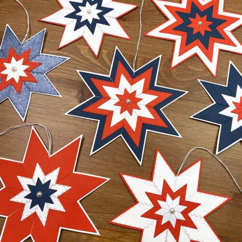 vánoční hvězdy pro Motol - hotové tříbarevné ozdoby