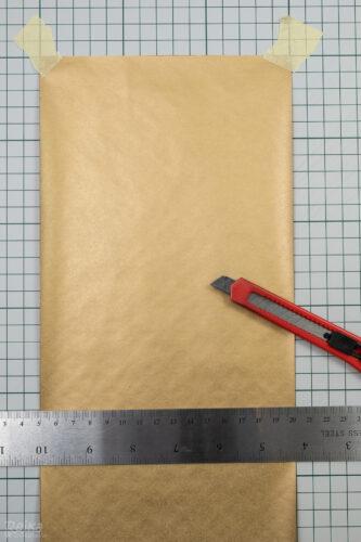 příprava sáčků z balicího papíru, polotovary velikosti 15x21cm