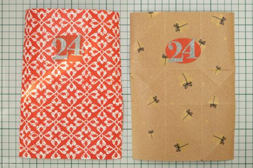 Polotovary na adventní sáčky z balicího papíru s nalepenými čísly.