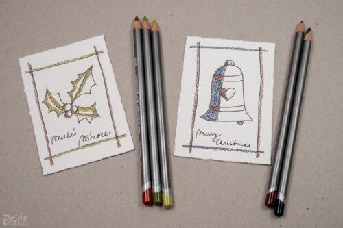 namalované a částečně vybarvené obrázky pro vánoční přání s vybarvovanými obrázky