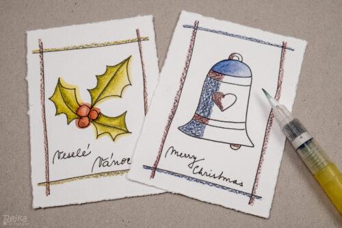 jeden vybarvený a jeden částečně vybarvený obrázek pro vánoční přání s vybarvovanými obrázky