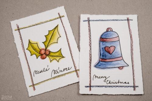 vybarvené obrázky pro vánoční přání s vybarvovanými obrázky