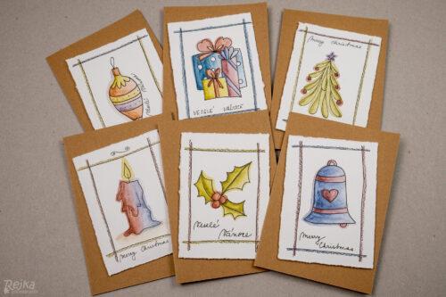 sada hotových přání - vánoční přání s vybarvovanými obrázky