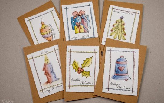 Rychlé a jednoduché vánoční přání s vybarvovanými obrázky