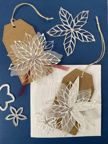 Vánoční přání a visačka s krajkovou vánoční hvězdou.