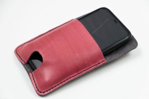 přední strana koženého obalu na mobil