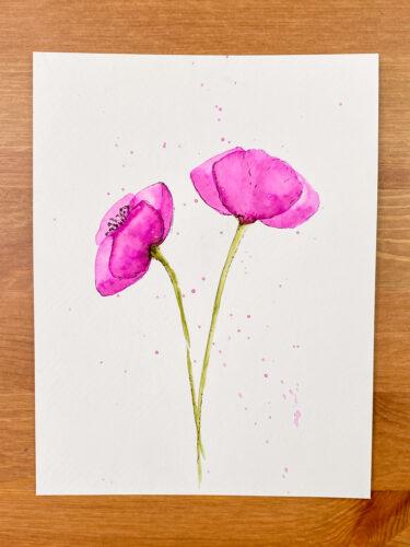 vlčí máky namalované akvarelovými brushpeny