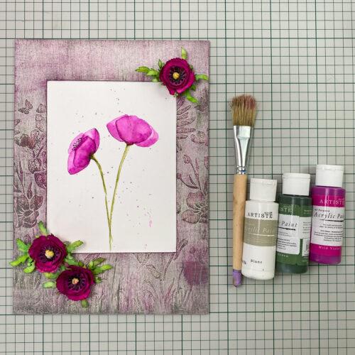 rámeček s vlčími máky, štětec a akrylové barvy