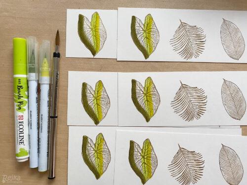 vybarvování razítek listů akvarelovými fixy