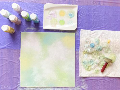 nabarvené plátno je připravené na šablonování