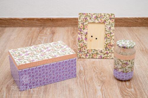 výsledek dekorování drobných předmětů papíry Décopatch